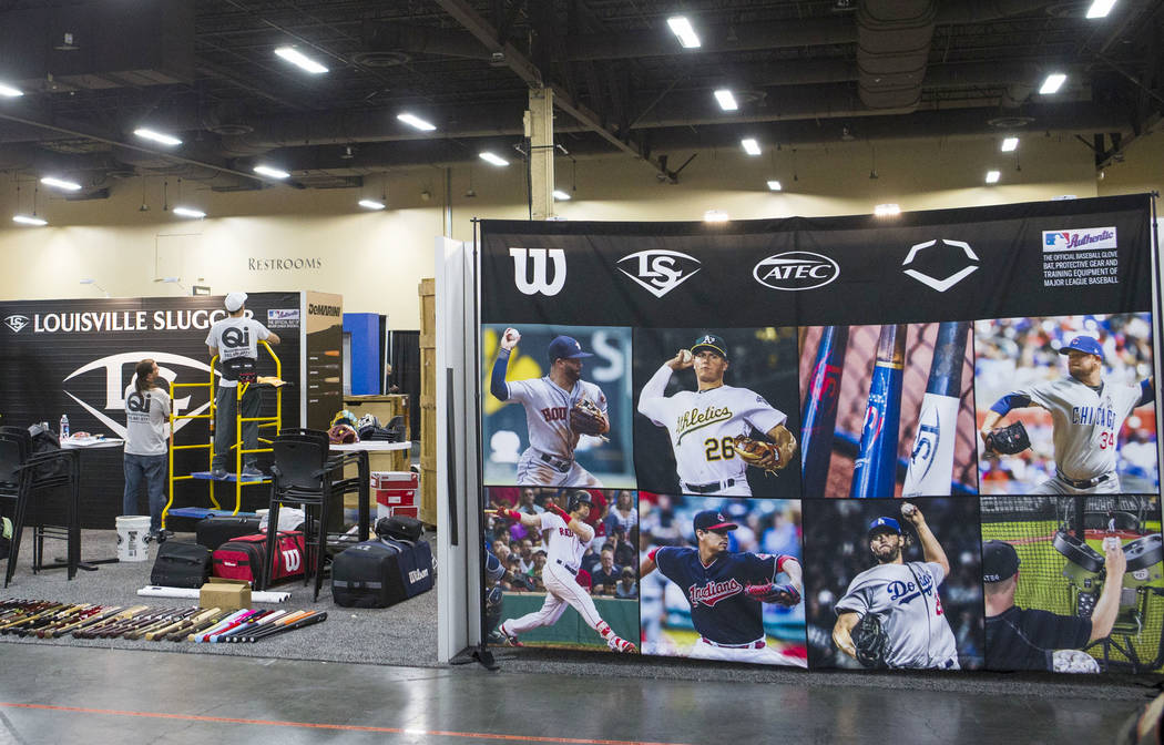 The Louisville Slugger booth is set up ahead ot the baseball trade show during Major League Baseball's winter meetings at Mandalay Bay in Las Vegas on Sunday, Dec. 9, 2018. Chase Stevens Las Vegas ...
