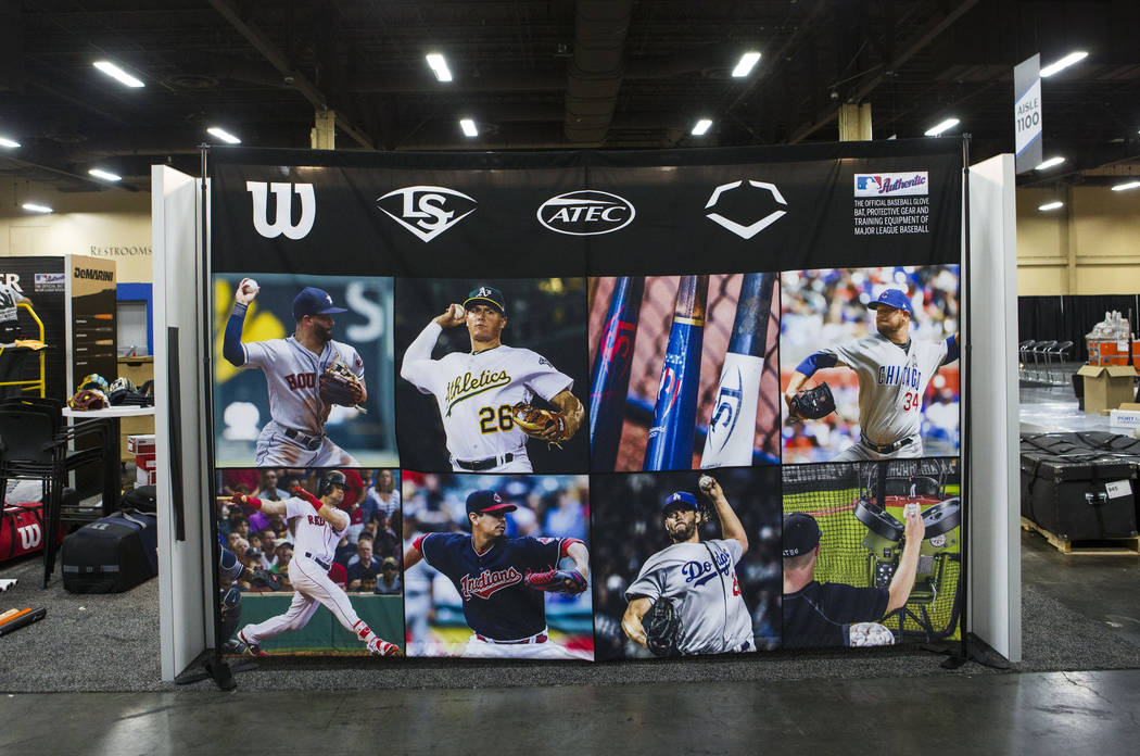 A display at the Louisville Slugger booth as it is set up ahead ot the baseball trade show during Major League Baseball's winter meetings at Mandalay Bay in Las Vegas on Sunday, Dec. 9, 2018. Chas ...