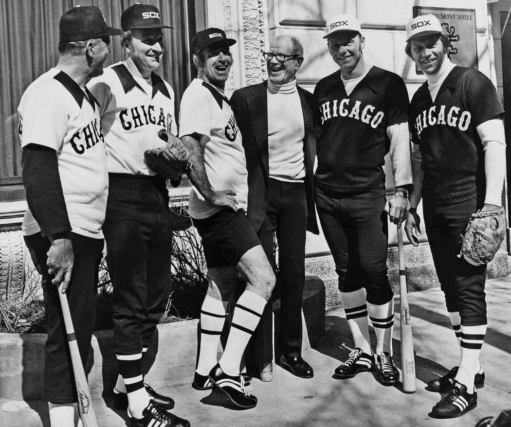 Five retired MaJor League ball players appear in Chicago, Tuesday, March 10, 1976, with Chicago White Sox owner Bill Veeck as they showed new uniforms that the White Sox will be wearing this seaso ...