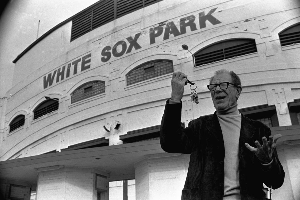 "Bill Veeck, new owner of the Chicago White Sox, clowns as he stands outside the White Sox ball park holding the keys to the park, December 16, 1975. Veeck was heard to say, ""It's all mine.&q ..."