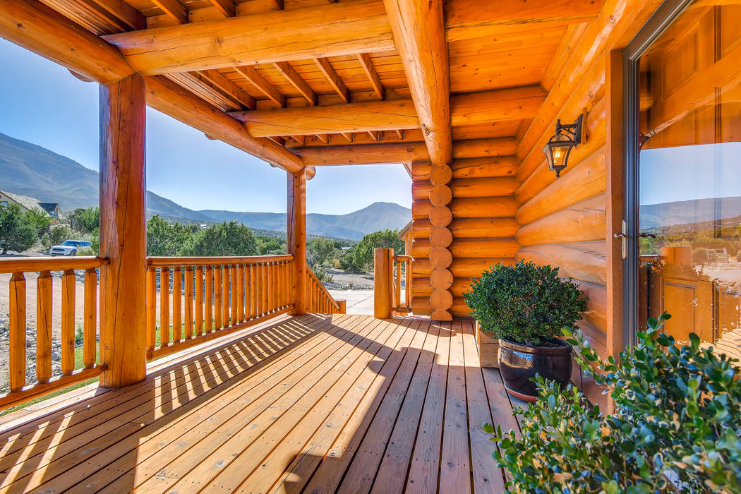 From the deck the homeowners say they can see wild horses and elk. (Mt. Charleston Realty)