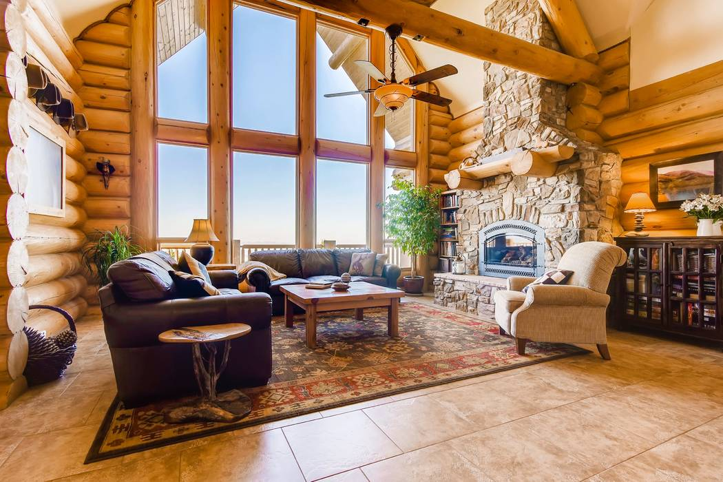 A fireplace is the showcase of the living areas. (Mt. Charleston Realty)