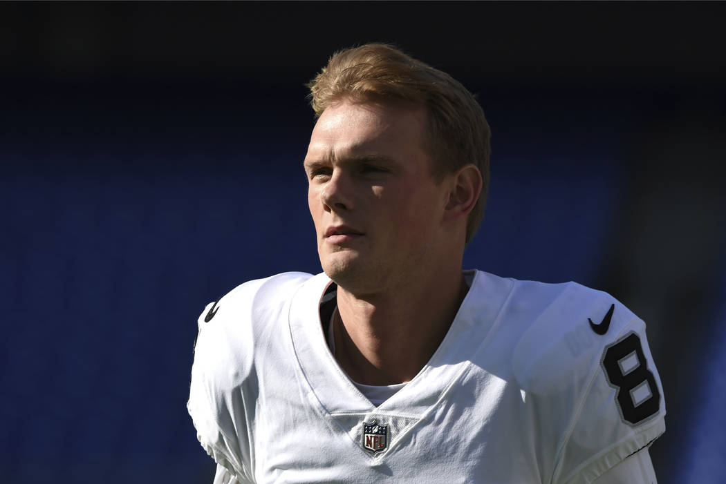 Oakland Raiders kicker Daniel Carlson warms up before an NFL football game against the Baltimore Ravens, Sunday, Nov. 25, 2018, in Baltimore. (AP Photo/Gail Burton)