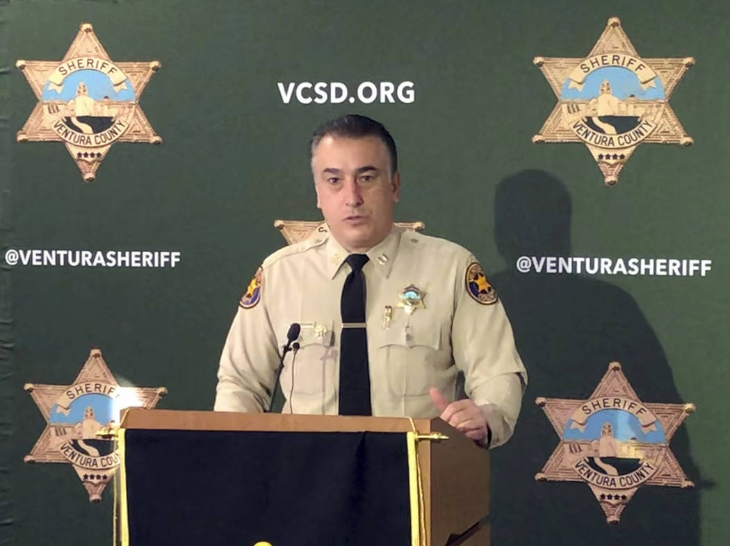 "Ventura County sheriff's Capt. Garo Kuredjian speaks at news conference in Thousand Oaks, Calif., Friday, Dec. 7, 2018, as authorities announce what they call a ""significant development"" ..."