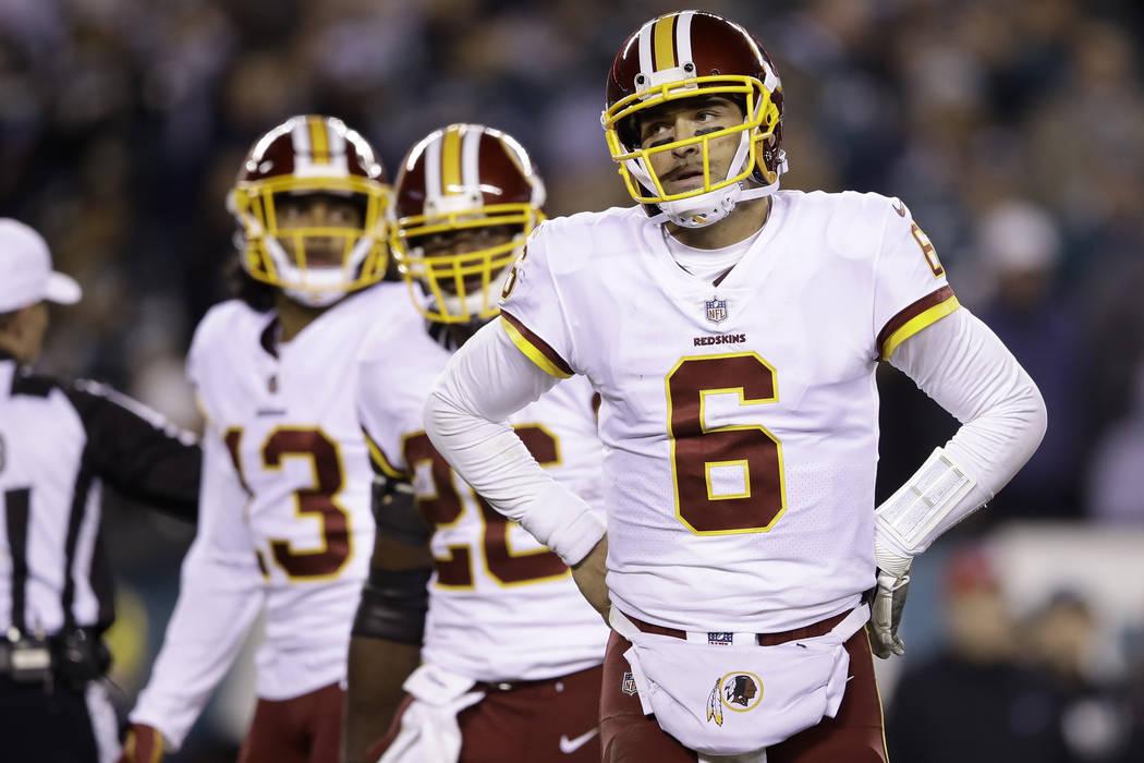 Washington Redskins quarterback Mark Sanchez (6) in action during an NFL football game against the Philadelphia Eagles, Monday, Dec. 3, 2018, Philadelphia. (AP Photo/Matt Rourke)