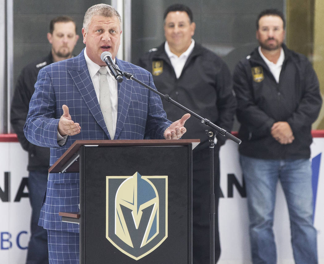 D Las Vegas CEO Derek Stevens speaks during a press conference to announce his partnership with the Golden Knights youth hockey program on Monday, July 30, 2018, at City National Arena, in Las Veg ...