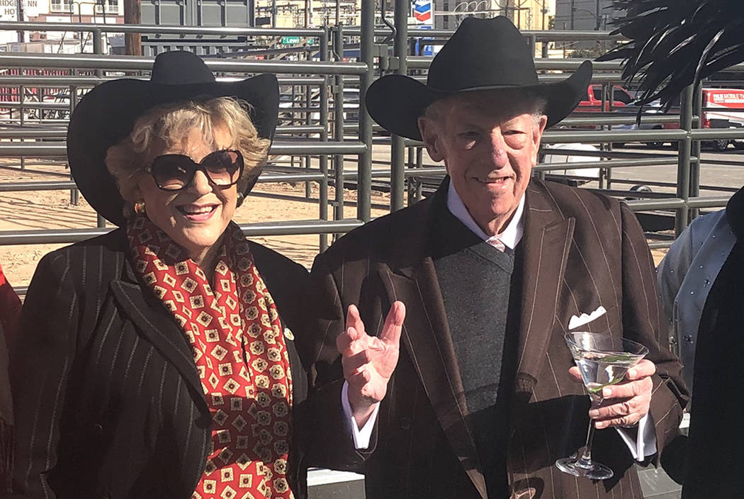 Las Vegas Mayor Carolyn Goodman and former Mayor Oscar Goodman are shown with showgirl models at the ribbon-cutting for Core Arena at the Plaza on Tuesday, Dec. 4, 2018. (John Katsilometes/Las Veg ...
