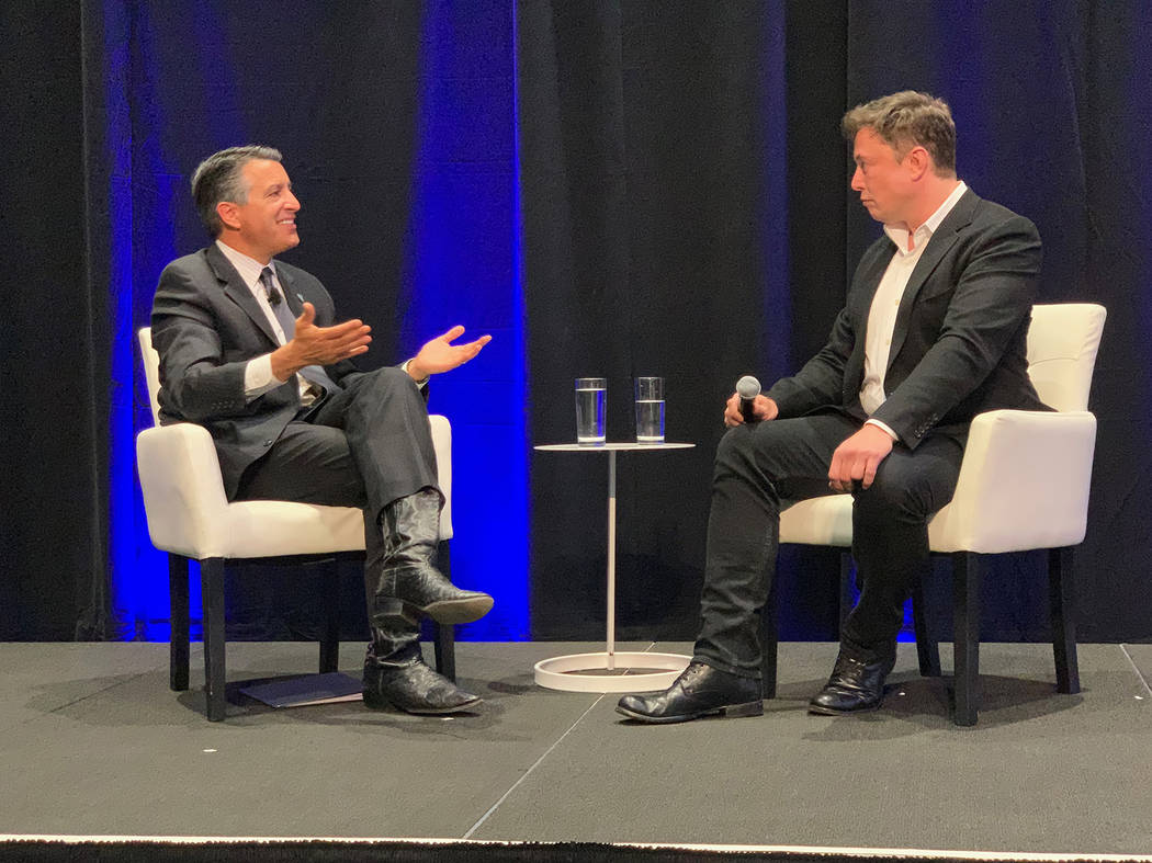 Gov. Brian Sandoval held a Q&A with Tesla founder Elon Musk at the company's Gigafactory battery facility in Sparks on Tuesday, Oct. 9, 2018, as part of a tech summit convened by the governor. ( ...