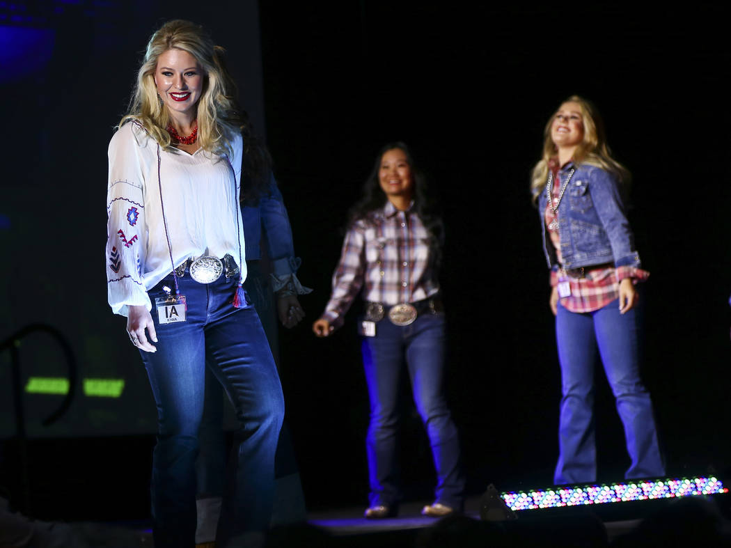 Miss Rodeo Iowa Jenna Kool walks on the runway during the Miss Rodeo America Fashion Show at the Tropicana Las Vegas in Las Vegas on Friday, Dec. 7, 2018. Chase Stevens Las Vegas Review-Journal @c ...