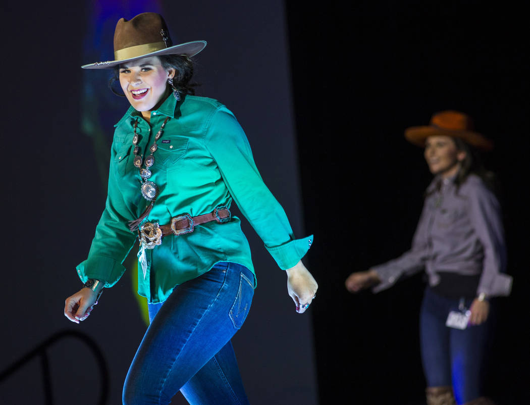 Miss Rodeo Minnesota Sarah Steffl walks on the runway during the Miss Rodeo America Fashion Show at the Tropicana Las Vegas in Las Vegas on Friday, Dec. 7, 2018. Chase Stevens Las Vegas Review-Jou ...