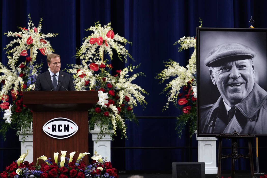 NFL commissioner Roger Goodell speaks during a public celebration of life for Houston Texans owner Robert C. McNair at NRG Stadium, Friday, Dec. 7, 2018, in Houston. McNair, who brought the NFL ba ...