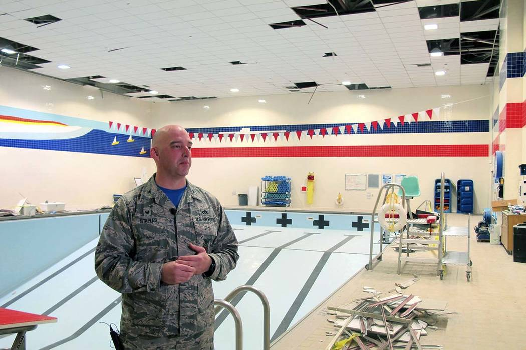 Air Force Col. Michael Staples shows damage from the powerful Nov. 30 earthquake, at Joint Base Elmendorf-Richardson Friday, Dec. 7, 2018, in Anchorage, Alaska. The magnitude 7.0 earthquake caused ...