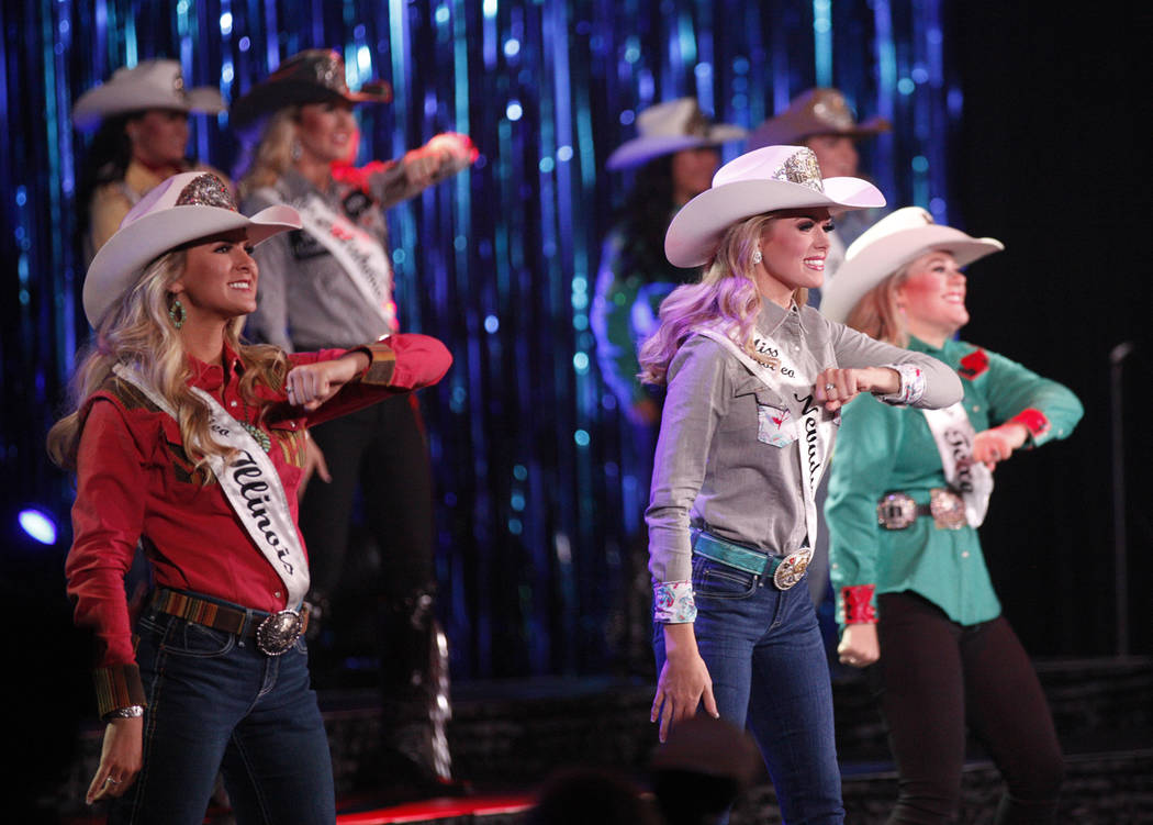 Contestants dance on stage at the beginning of the coronation performance for Miss Rodeo America 2019 at the Tropicana hotel-casino in Las Vegas, Sunday, Dec. 9, 2018. Sunday was the final day of ...