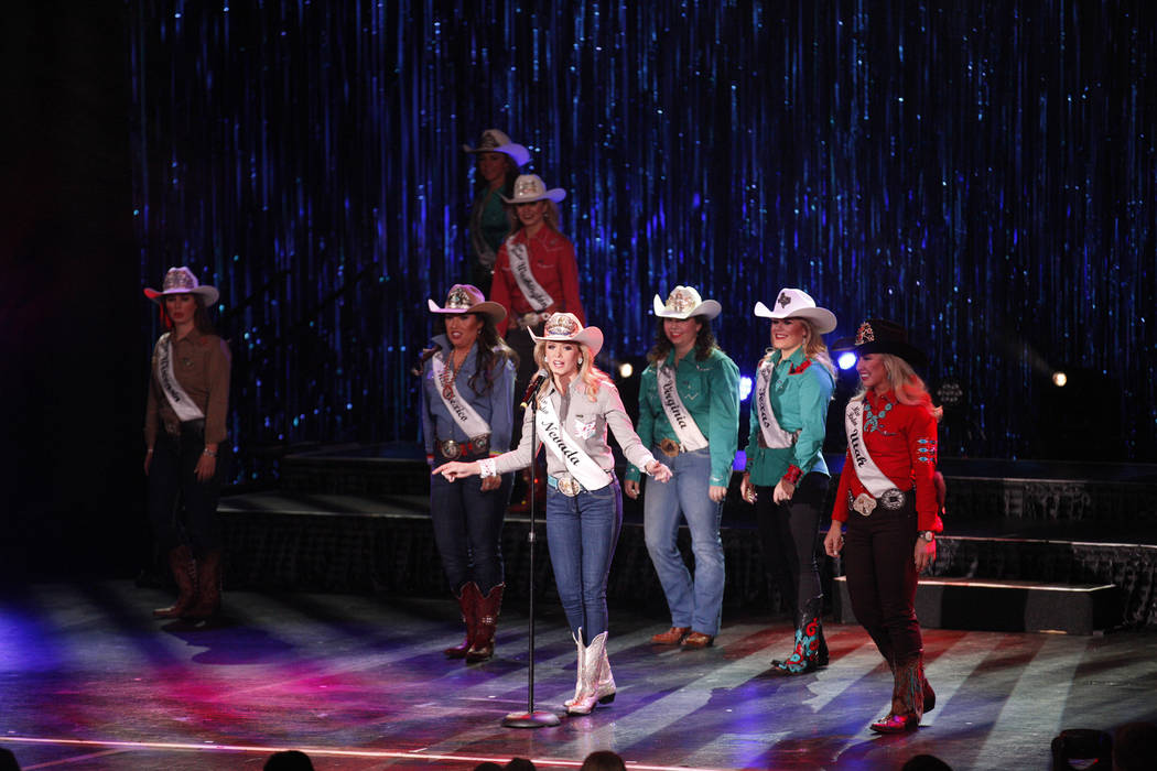 Miss Rodeo Nevada Makenzie McMurtrey tells the crowd a fun fact about her at the Miss Rodeo America 2019 at the Tropicana hotel-casino in Las Vegas, Sunday, Dec. 9, 2018. Sunday was the final day ...
