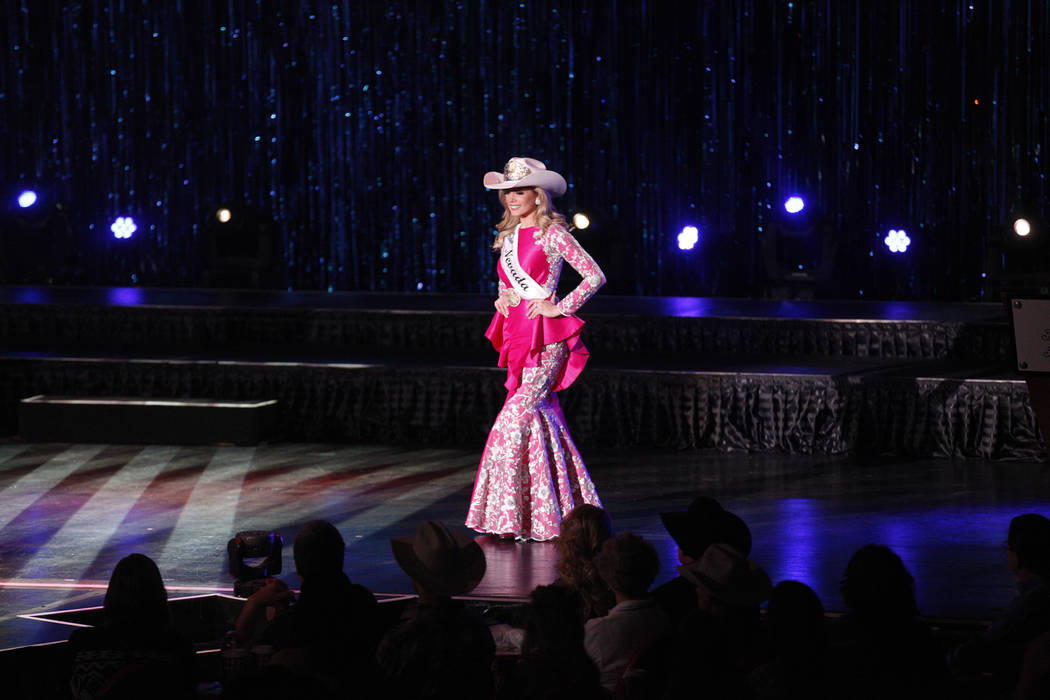 Miss Rodeo Nevada Makenzie McMurtrey walks the stage at the Miss Rodeo America 2019 at the Tropicana hotel-casino in Las Vegas, Sunday, Dec. 9, 2018. Sunday was the final day of the more than week ...