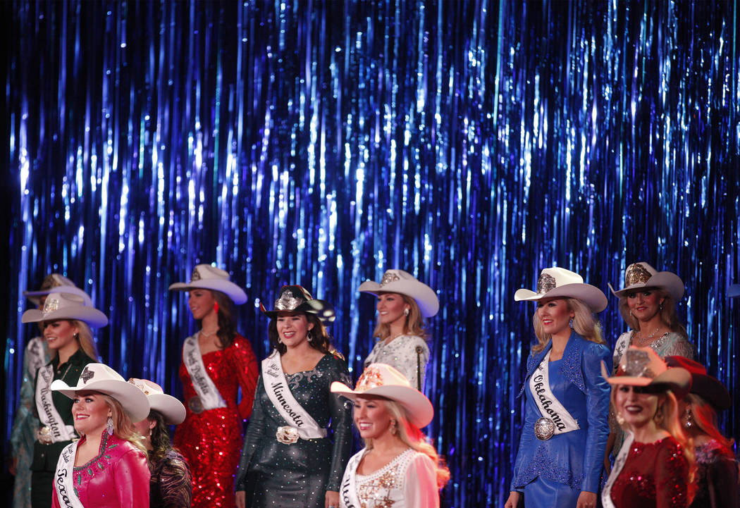 Contestants at the Miss Rodeo America 2019 at the Tropicana hotel-casino in Las Vegas, Sunday, Dec. 9, 2018. Sunday was the final day of the more than week long competition that includes horsemans ...
