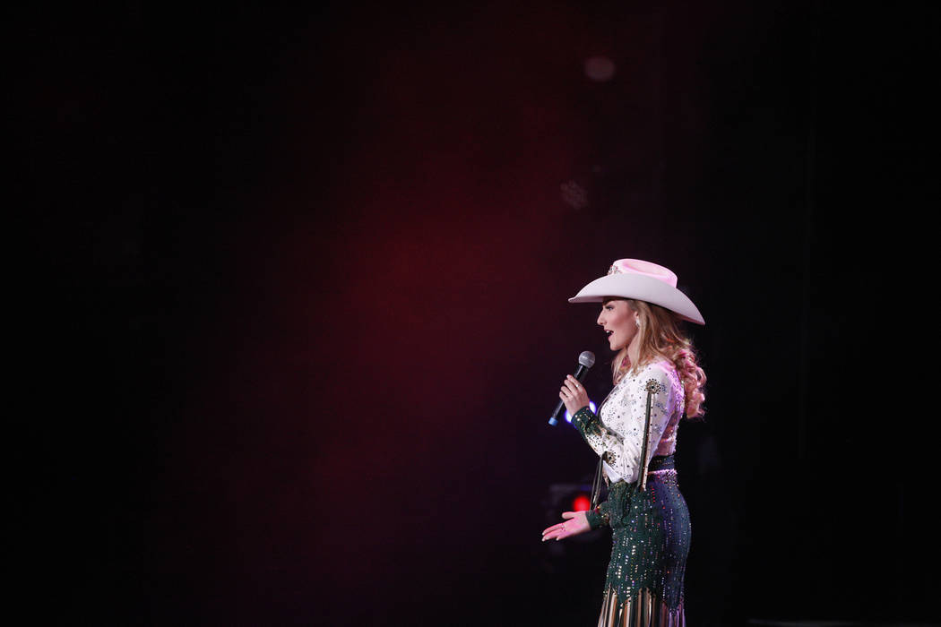 Miss Rodeo Idaho Sydney Butler answers a question from he judges at the Miss Rodeo America 2019 at the Tropicana hotel-casino in Las Vegas, Sunday, Dec. 9, 2018. Sunday was the final day of the mo ...