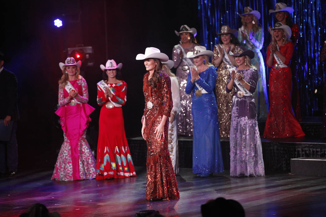 Miss Rodeo Mississippi Taylor McNair looks to the crowd after winning the Miss Rodeo America 2019 title at the Tropicana hotel-casino in Las Vegas, Sunday, Dec. 9, 2018. Sunday was the final day o ...