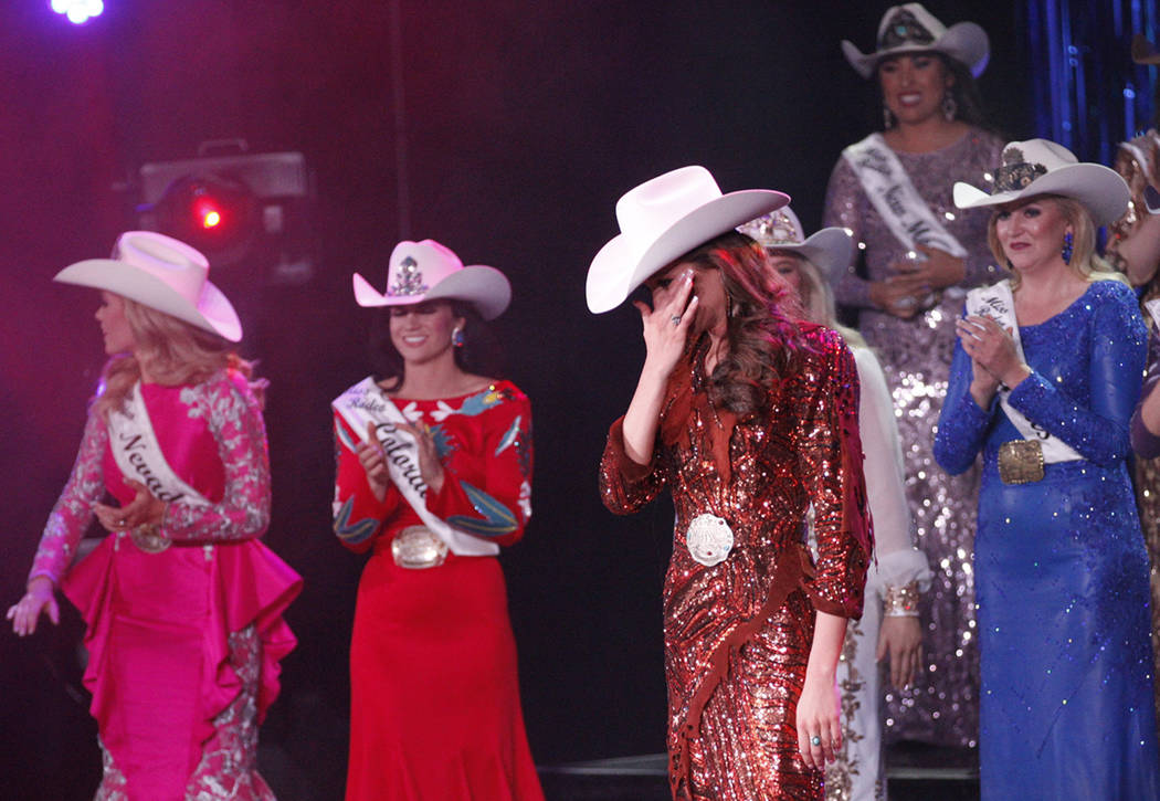 Miss Rodeo Mississippi Taylor McNair reacts after winning the Miss Rodeo America 2019 title at the Tropicana hotel-casino in Las Vegas, Sunday, Dec. 9, 2018. Sunday was the final day of the more t ...