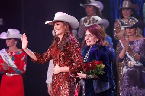 Miss Rodeo Mississippi Taylor McNair, second from left, waves to the crowd with Kiki Shumway, e ...