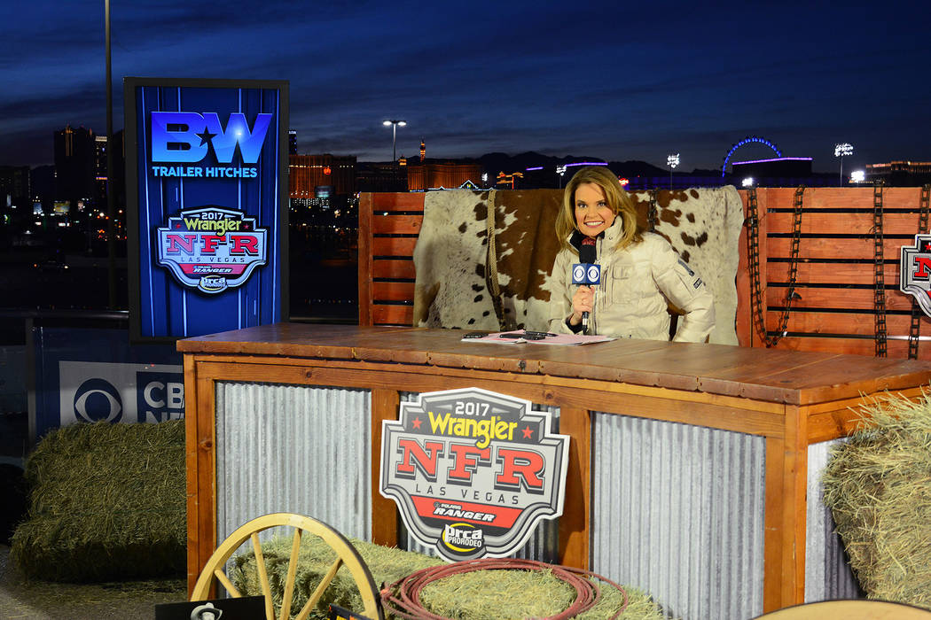 The Shoe, at the northwest side of the Thomas & Mack Center, includes a nightly pre-rodeo broadcast on the CBS Sports Network, with the Strip as the backdrop.