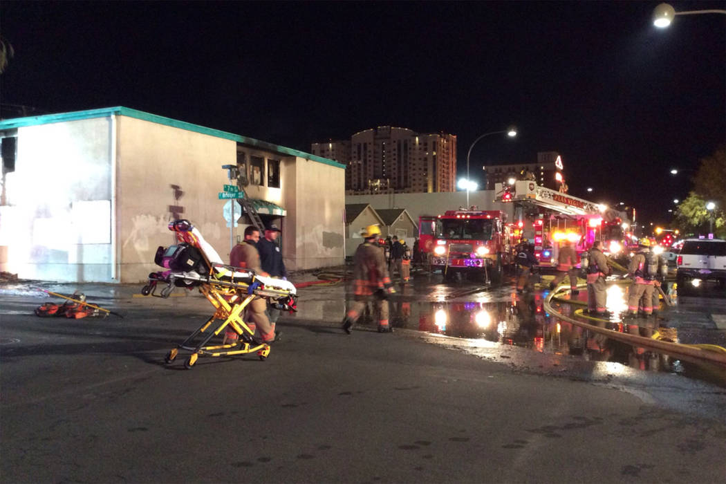 A Las Vegas firefighter and a squatter were injured after a fire in a vacant downtown motel early Saturday, Dec. 8, 2018. (Las Vegas Fire and Rescue)