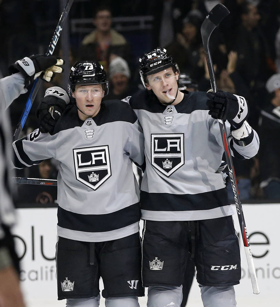 Los Angeles Kings right wing Matt Luff, right, celebrates his goal against the Vegas Golden Knights with right wing Tyler Toffoli, left, during the second period of an NHL hockey game in Los Angel ...