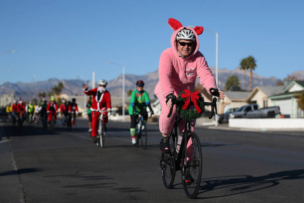 Bicyclists during the RTC for the Holiday Bike Ride in Las Vegas, Saturday, Dec. 8, 2018. People were allowed to participate in the event by donating a new unwrapped toy. Erik Verduzco Las Vegas R ...