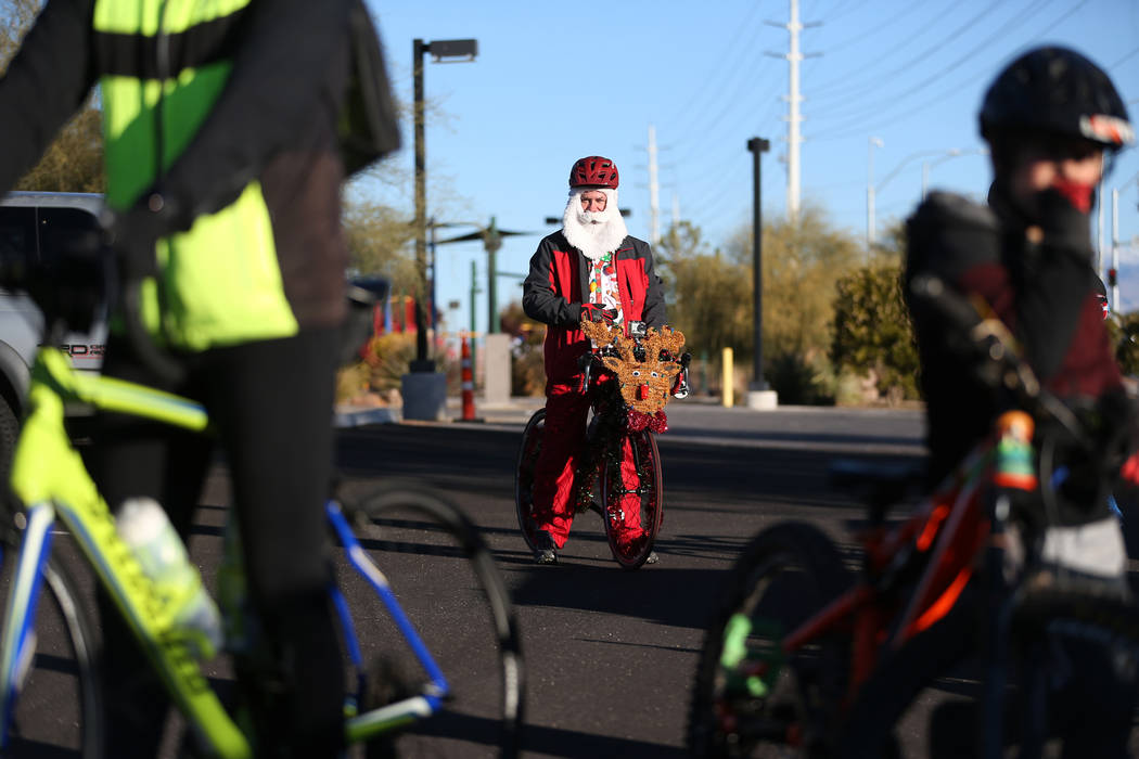 Sam Degonia gets ready to start in the RTC for the Holiday Bike Ride in Las Vegas, Saturday, Dec. 8, 2018. People were allowed to participate in the event by donating a new unwrapped toy. Erik Ver ...