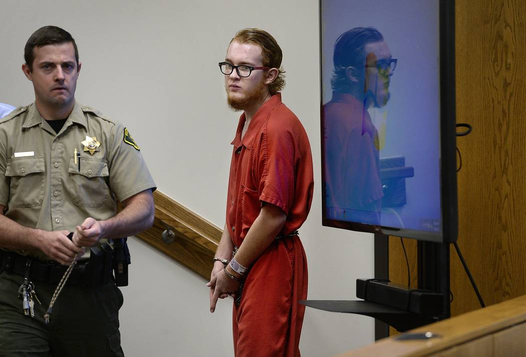 In this Aug. 23, 2017, file photo, defendant Tyerell Joe Przybycien, 18, of Spanish Fork, returns to court following a break during his preliminary hearing in 4th District Court, in Provo, Utah. T ...