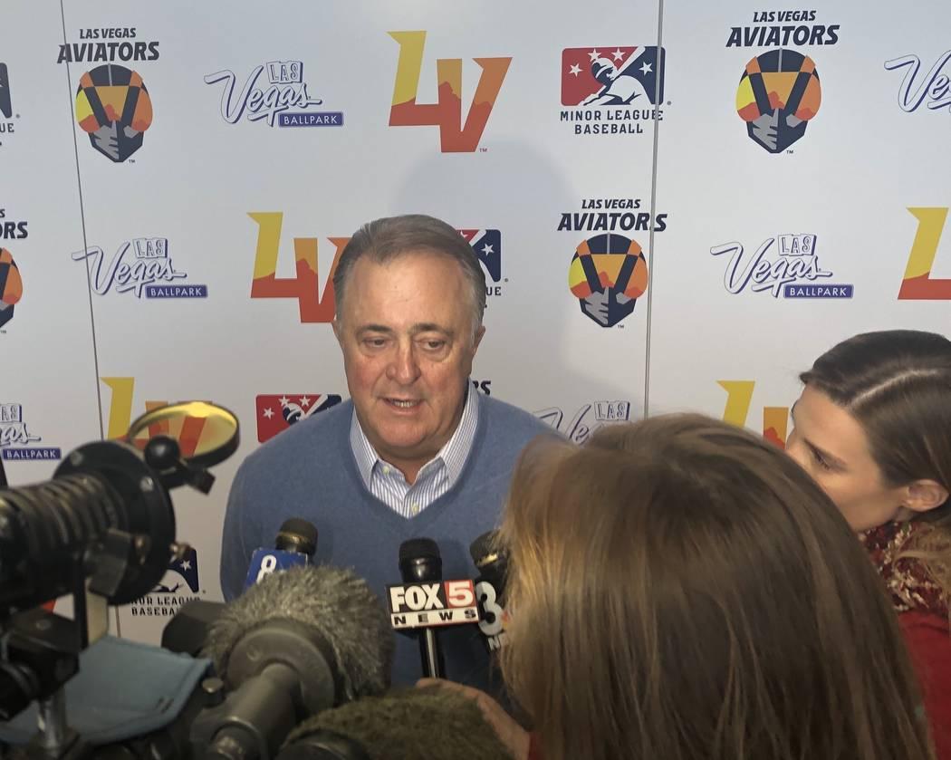 Don Logan addresses the media after the name Las Vegas Aviators' naming event Saturday at Downtown Summerlin. (John Katsilometes/Las Vegas Review-Journal) @JohnnyKats