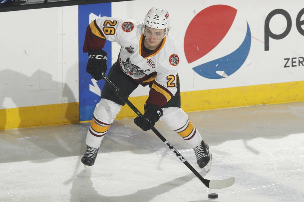 Chicago Wolves defenseman Erik Brannstrom, who is a Golden Knights top prospect, plays during a recent AHL game. Photo by Chicago Wolves.
