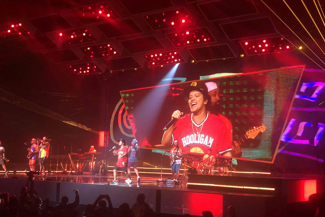 Bruno Mars appears at T-Mobile Arena on Sunday, Dec. 30, 2018. (John Katsilometes/Las Vegas Review-Journal)