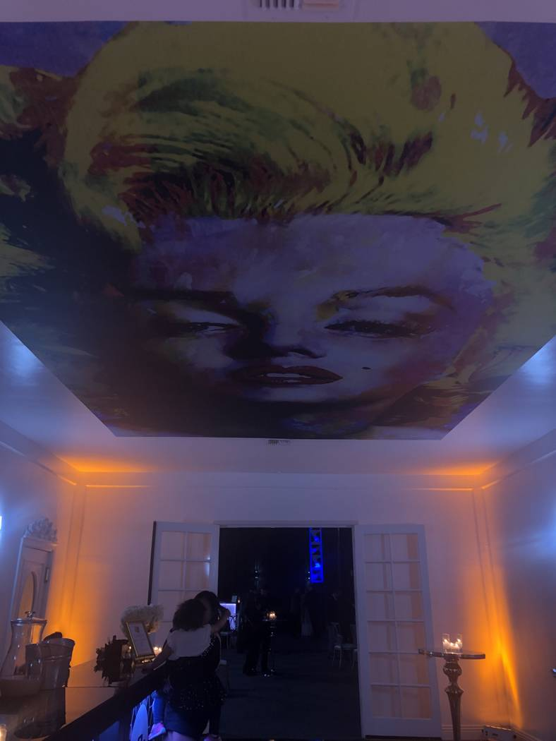 Andy Warhol's painting of Marilyn Monroe is shown at Mansion 54 during the estate's VIP preview party on Friday, Dec. 7, 2018. (John Katsilometes/Las Vegas Review-Journal)