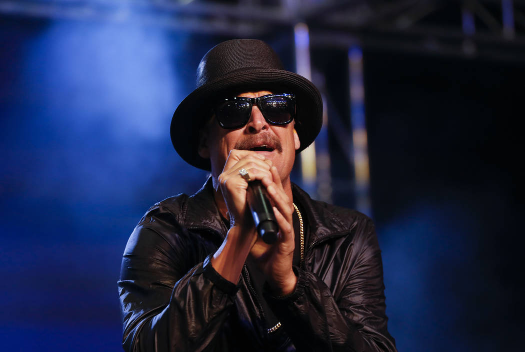 In this Oct. 17, 2018, photo, Kid Rock performs during a rally for Republican U.S. Senate candidate John James in Pontiac, Mich. (AP Photo/Paul Sancya, File)