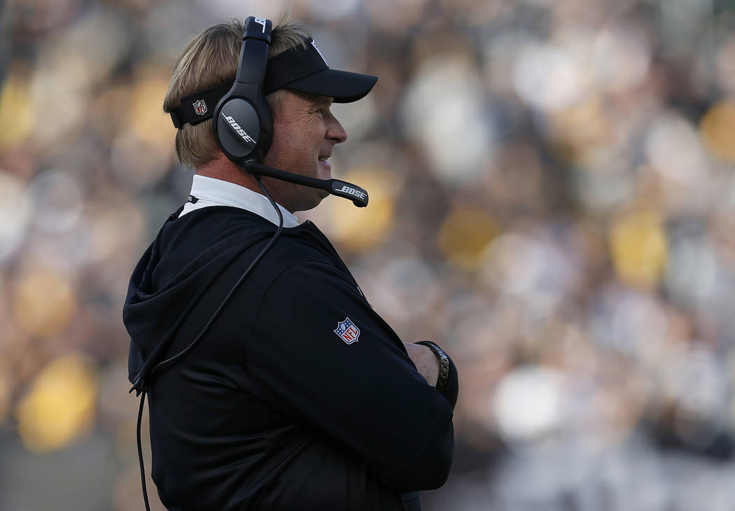 Oakland Raiders head coach Jon Gruden watches during the first half of an NFL football game between the Raiders and the Pittsburgh Steelers in Oakland, Calif., Sunday, Dec. 9, 2018. (AP Photo/D. R ...