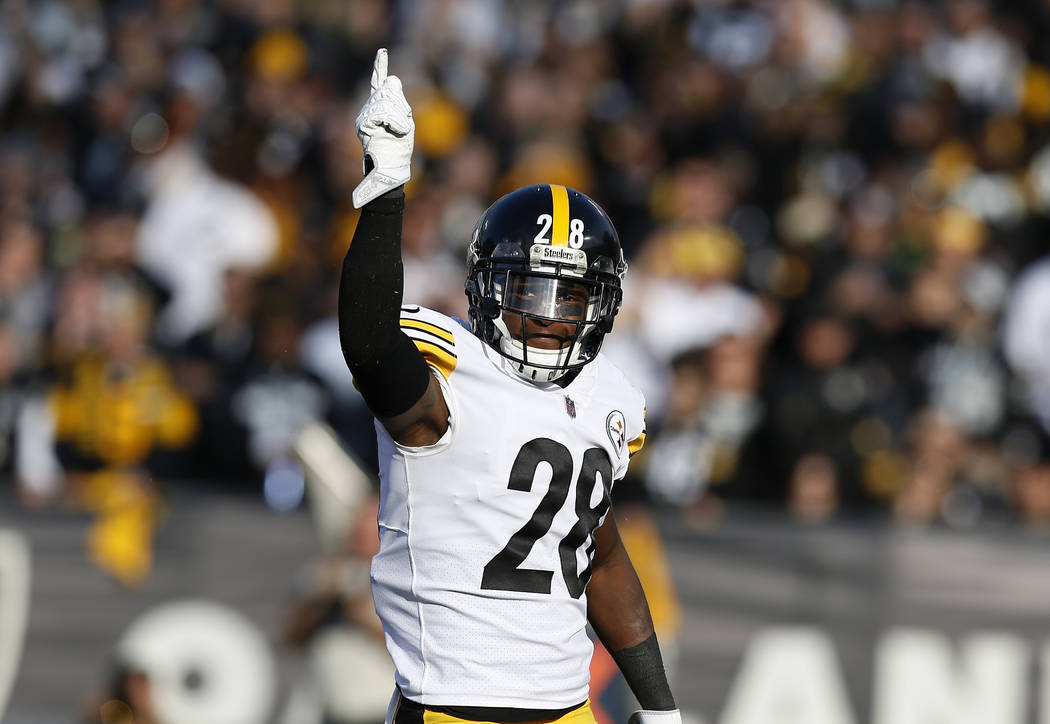 Pittsburgh Steelers cornerback Mike Hilton (28) gestures during the first half of an NFL football game against the Oakland Raiders in Oakland, Calif., Sunday, Dec. 9, 2018. (AP Photo/D. Ross Cameron)