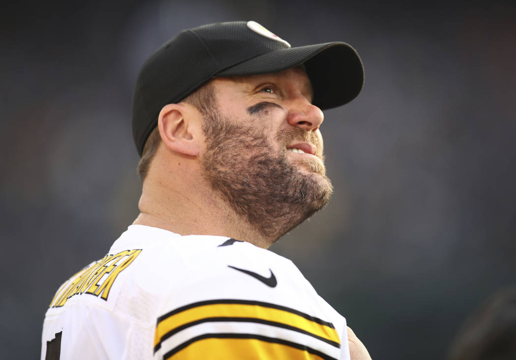 Pittsburgh Steelers quarterback Ben Roethlisberger (7) stands on the sideline during the second half of an NFL football game against the Oakland Raiders in Oakland, Calif., Sunday, Dec. 9, 2018. ( ...