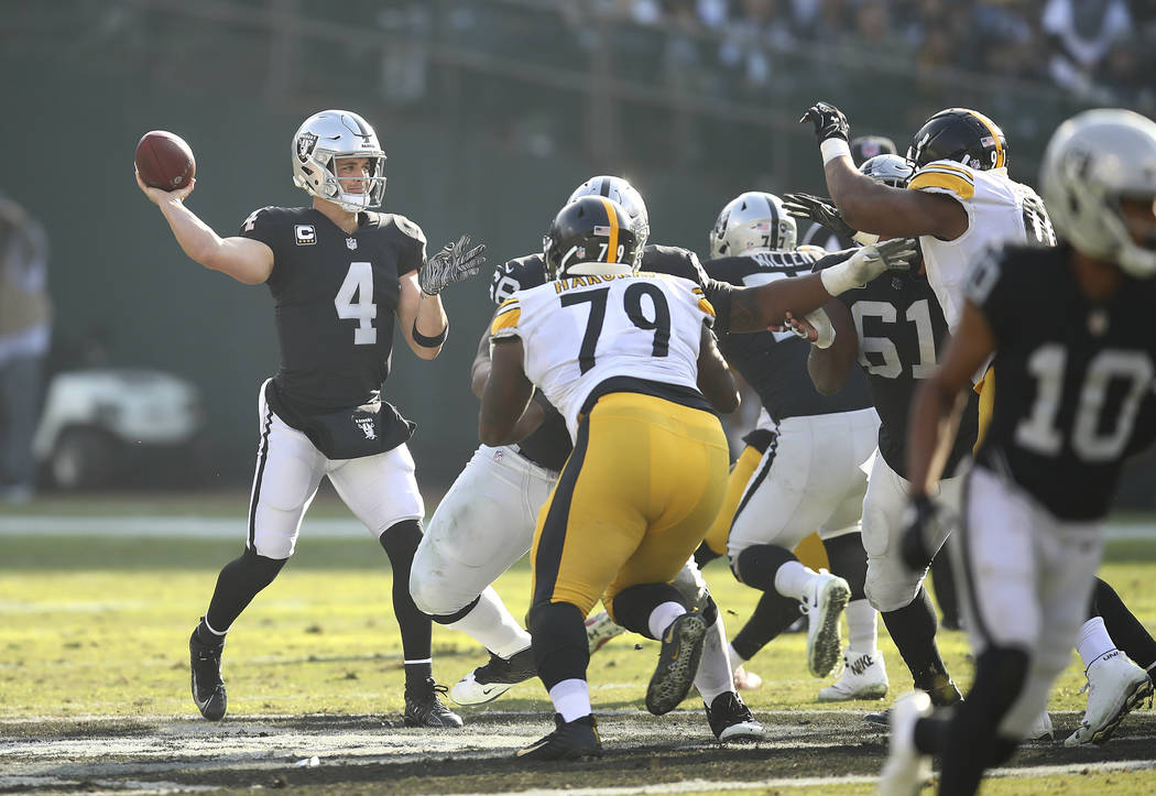 Oakland Raiders quarterback Derek Carr (4) passes against the Pittsburgh Steelers during the first half of an NFL football game in Oakland, Calif., Sunday, Dec. 9, 2018. (AP Photo/Ben Margot)