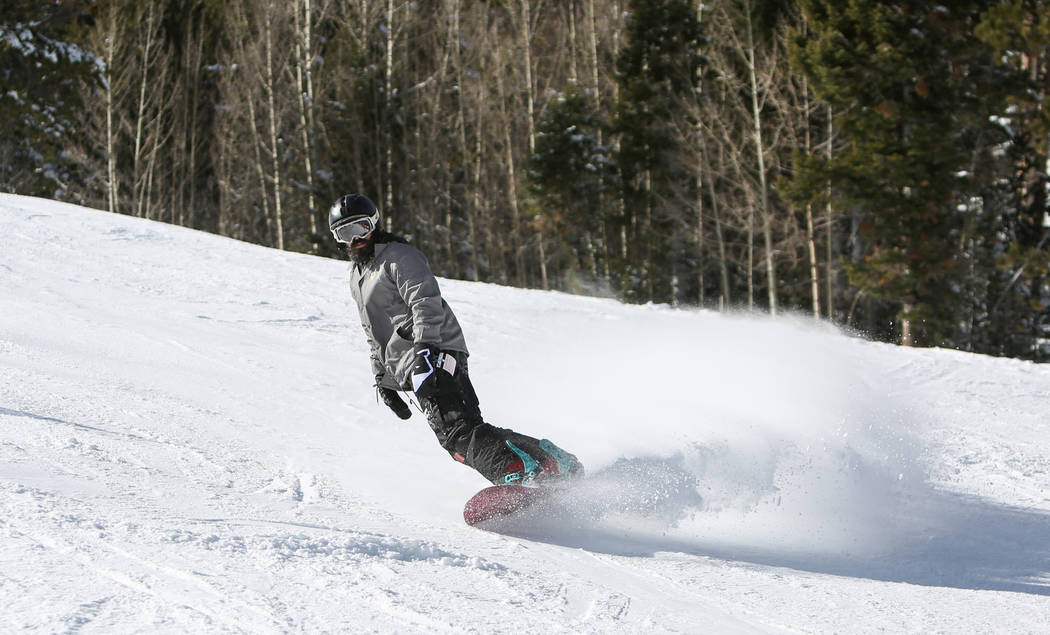 Chris Wiesen from Las Vegas goes down the slope during the opening weekend for the winter season at Lee Canyon near Las Vegas, Sunday, Dec. 9, 2018. Caroline Brehman/Las Vegas Review-Journal