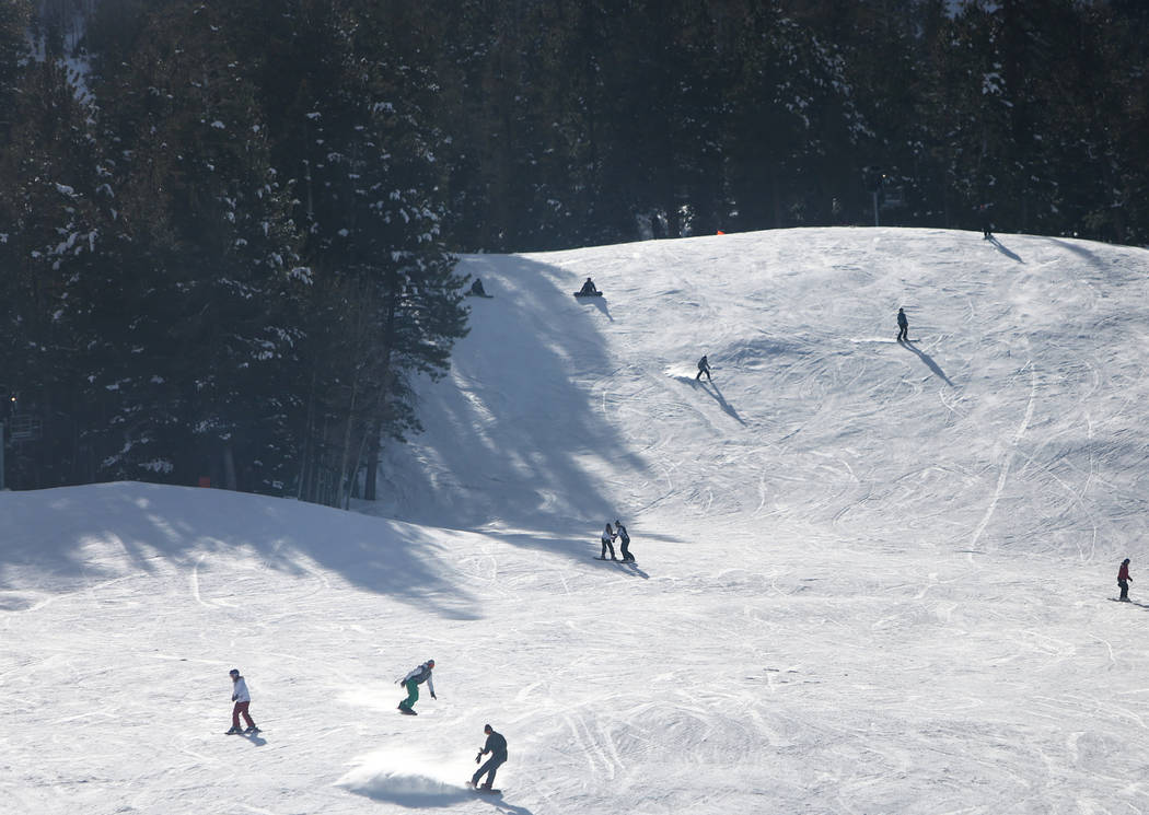 People go skiing and snowboarding during the opening weekend for the winter season at Lee Canyon near Las Vegas, Sunday, Dec. 9, 2018. Caroline Brehman/Las Vegas Review-Journal