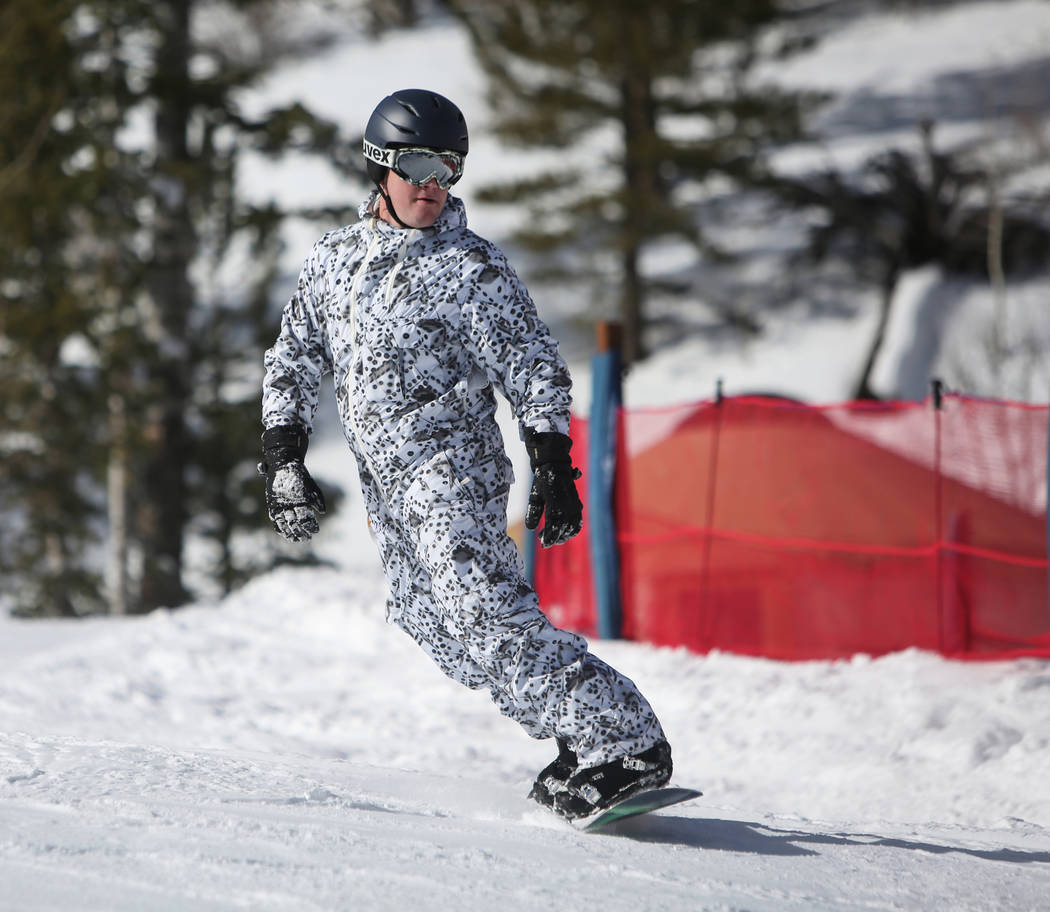 Ben Nethery from Las Vegas goes down one of the mountain trails during the opening weekend for the winter season at Lee Canyon near Las Vegas, Sunday, Dec. 9, 2018. Caroline Brehman/Las Vegas Revi ...