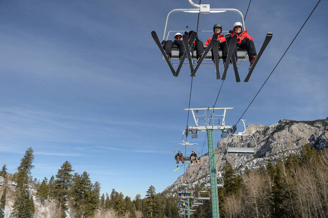 Skiers wait on a ski lift during the opening weekend for the winter season at Lee Canyon near Las Vegas, Sunday, Dec. 9, 2018. Caroline Brehman/Las Vegas Review-Journal