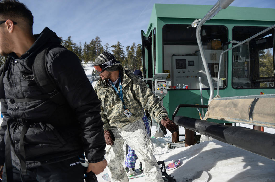 Donovan Neal makes his way off of a ski lift during the opening weekend for the winter season at Lee Canyon near Las Vegas, Sunday, Dec. 9, 2018. Caroline Brehman/Las Vegas Review-Journal