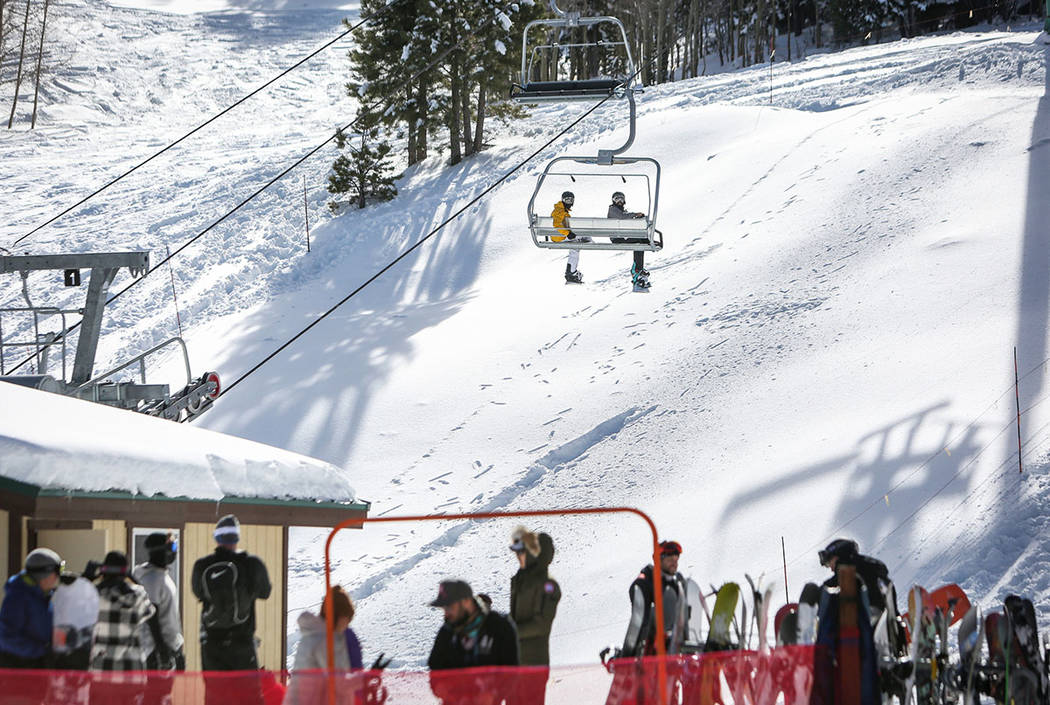 People wait on a lift during the opening weekend for the winter season at Lee Canyon near Las Vegas, Sunday, Dec. 9, 2018.. Caroline Brehman/Las Vegas Review-Journal