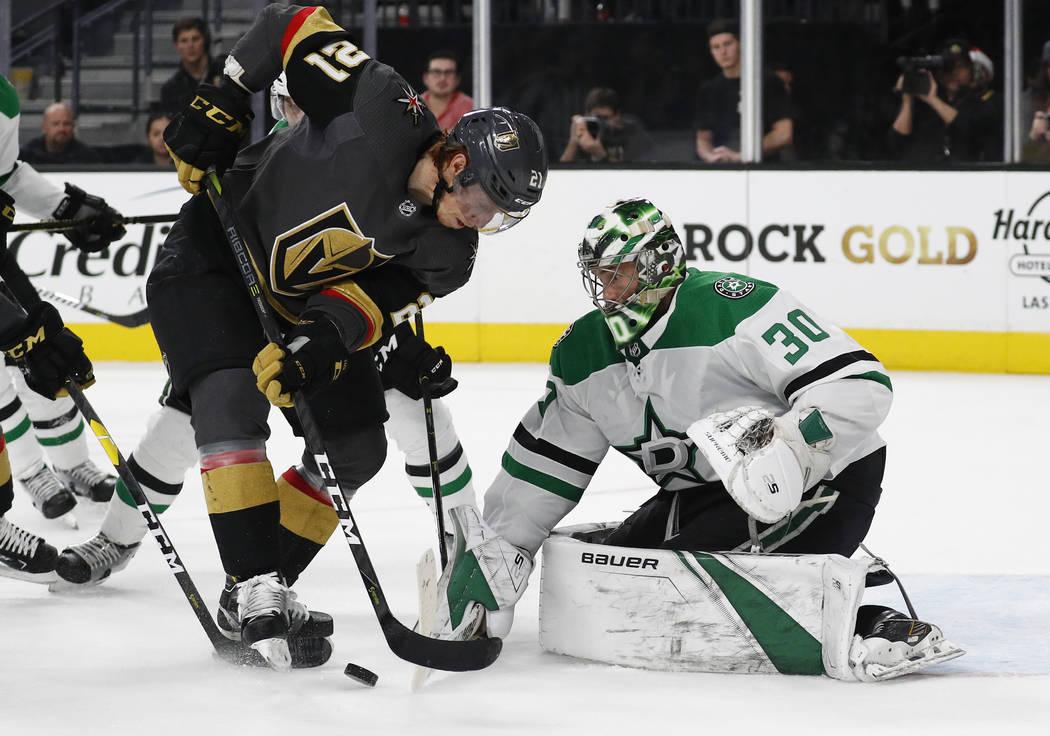 Dallas Stars goaltender Ben Bishop (30) blocks a shot by Vegas Golden Knights center Cody Eakin (21) during the second period of an NHL hockey game Sunday, Dec. 9, 2018, in Las Vegas. (AP Photo/Jo ...