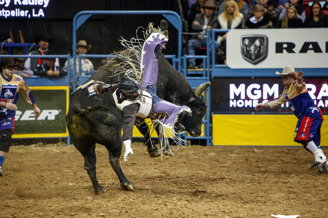 "Koby Radley, of Montpelier, La, rides ""Disco"" while competing in bull riding during the fourth go-round of the National Finals Rodeo at the Thomas & Mack Center in Las Vegas, Sunday, ..."