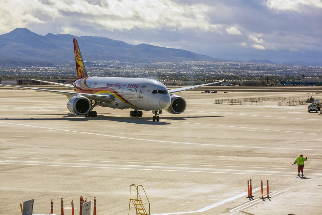 A Hainan Airlines flight from Beijing arrives at McCarran International Airport on Wednesday, Jan. 11, 2017. (Jeff Scheid/Las Vegas Review-Journal) @jeffscheid