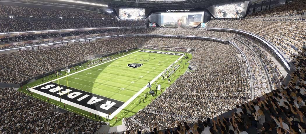 Renderings of the new Raiders stadium being constructed in Las Vegas.