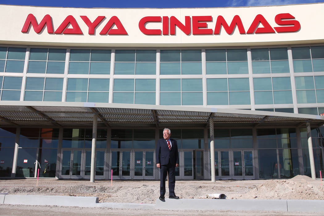 Moctesuma Esparza, CEO of Maya Cinemas, stands in front of the new Maya Cinemas in North Las Vegas, Wednesday, Dec. 12, 2018. The aim of the theatre chain is to serve latino-centric, underserved c ...